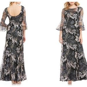 Belle Badgley Mischka Embroidered Bell Sleeve Gown